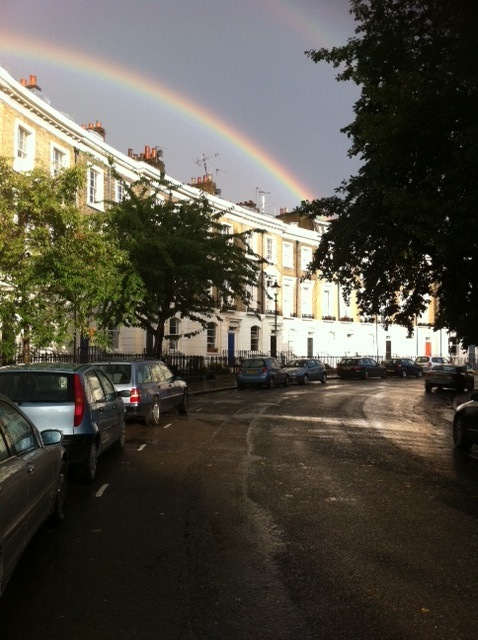 Thornhill Square August 2011 with rainbow
